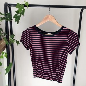 Garage Striped Scalloped Ribbed Baby Tee size S